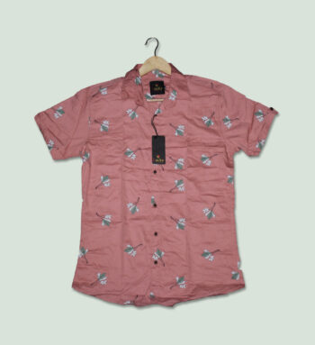 Light Pink Printed Half Sleeves Shirt - Pink Shirt for Men