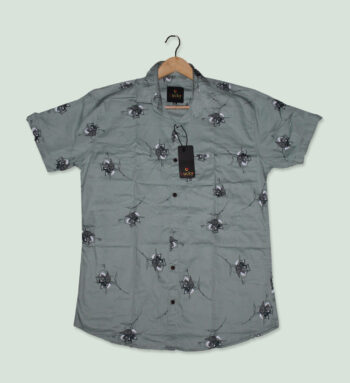 Men Printed Grey Shirt - Grey Shirts for Men