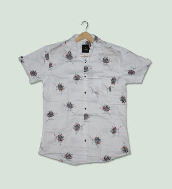 Men Printed White Shirt - Printed White Shirt - Mens Printed Shirt