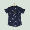 NAVY BLUE PRINTED HALF SLEEVES SHIRT