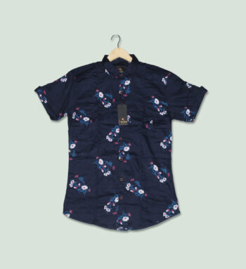 Navy Blue Printed Half Sleeves Shirt - Lootera House
