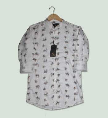 White Color Cotton Mens Printed Shirt