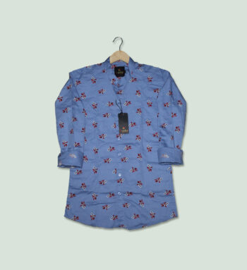 Men's Sky Blue Printed Slim Fit Shirt - Light Blue Shirts