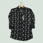 MEN'S BLACK COLOR COTTON PRINTED REGULAR FIT SHIRT