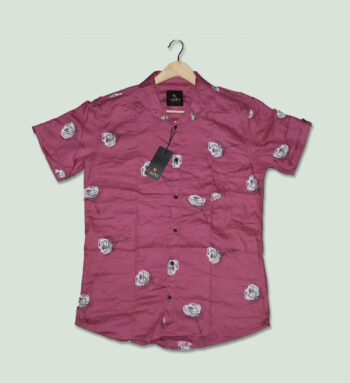 Pink Color Printed Shirt - Pinks Men's Printed Shirts