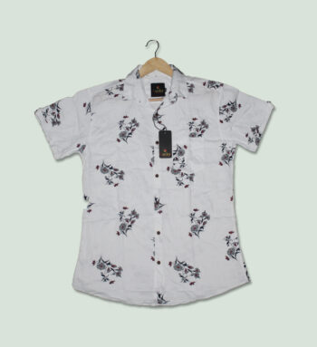 White Printed Half Sleeves Shirt - Mens White Shirts