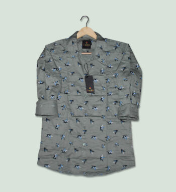 Grey Color Printed Shirt - Buy Grey Shirt For Men Online in India
