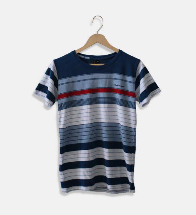 MAN'S ROUND NECK BLUE, RED AND WHITE T-SHIRT
