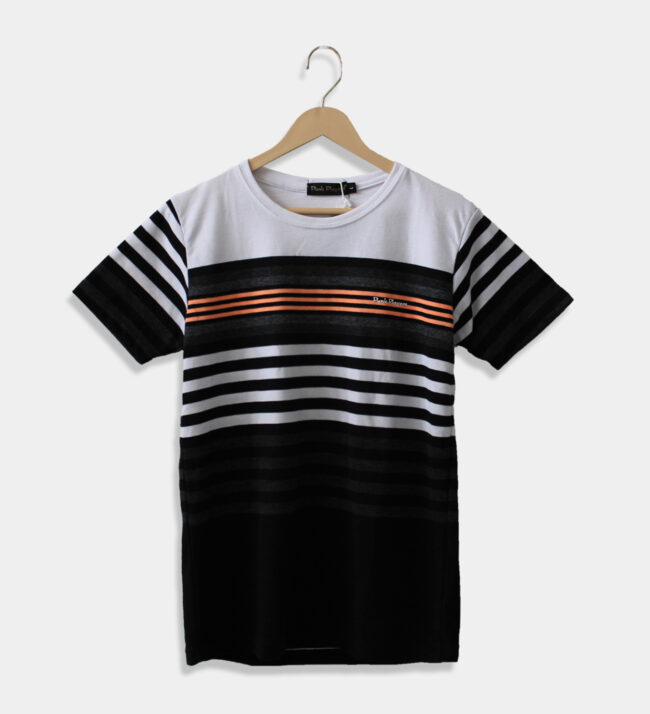 MAN'S ROUND NECK BLACK AND WHITE T-SHIRT