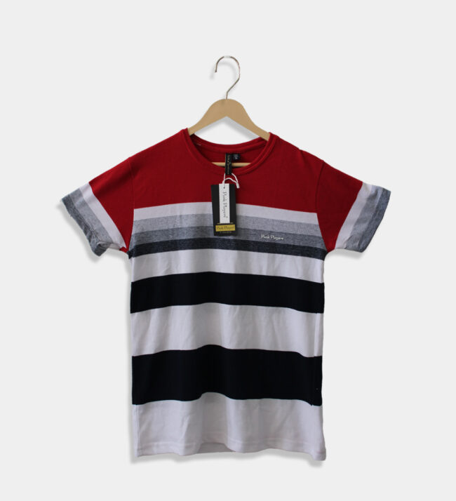 MAN'S ROUND NECK RED WITH BLACK AND WHITE T-SHIRT