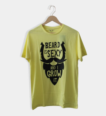 Man's round neck Light Yellow cotton T-shirt