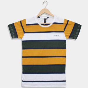 yellow & white with olive green t-shirt