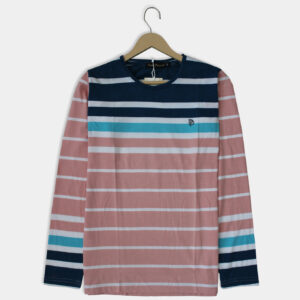 pink and blue, round neck, full sleeves t-shirt