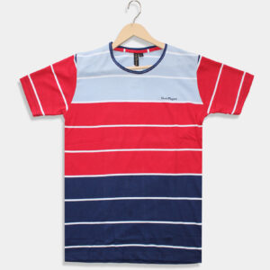 sky blue with red & blue t-shirt