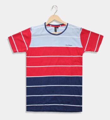 Man's round neck sky blue with red & blue T-Shirt