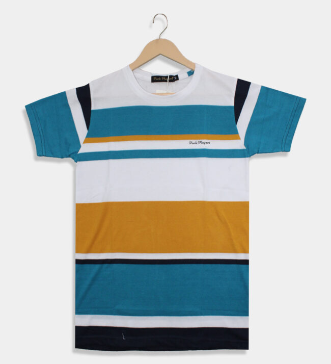 light blue with yellow t-shirt