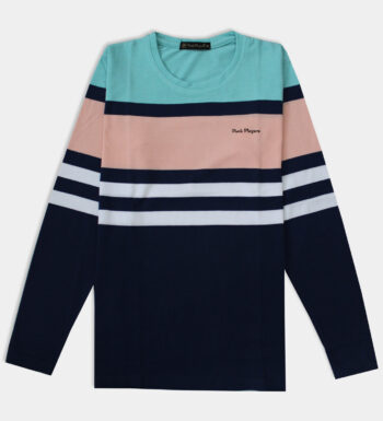 Man's round neck light pink and blue T-Shirt