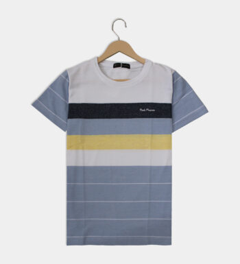 Man's round neck light blue and white T-Shirt