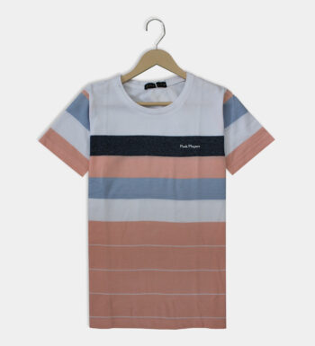 Man's round neck white with light pink T-Shirt